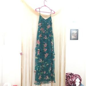 Xhilaration ForestGreen/Teal floral Dress
